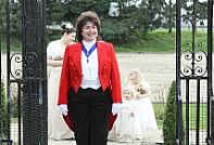 Professional Toastmaster waiting with Bridesmaids before a wedding ceremony at an Essex Venue